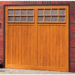 Bedford Steel Up and Over Golden Oak Finished Garage Doors