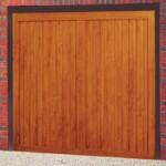 Berkeley Vertical Steel Up and Over Golden Oak Finished Garage Doors